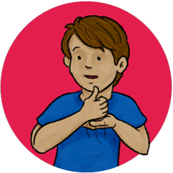 Image of a kid asking for help in ASL