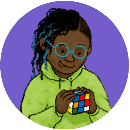 Image of a kid playing with a Rubik's cube