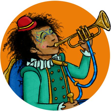 Image of a kid in a wheelchair playing a bugle.
