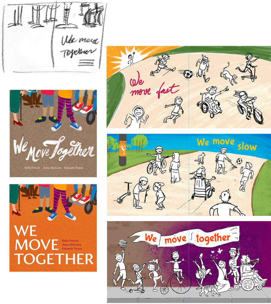 Collage of early sketches and drafts of several of the book spreads.