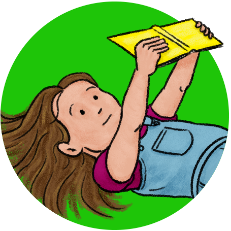 Image of a kid holding a book up and reading