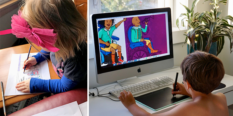 Diptych of a young girl colouring sheets and a boy colouring digitally a spread of We Move Together.