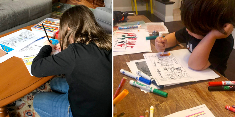 Diptych of a girl and a young boy colouring printouts of We Move Together.