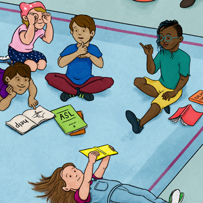 Image of kids reading and practicing ASL