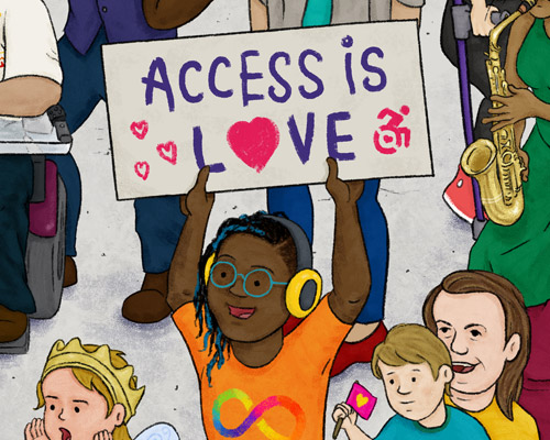 """Image of a kid holding up a sign that reads """"Access is love"""""""